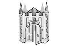 Villa Carton #Burg ● Für kleine und große #Burgfräulein und #Ritter. ● Mit ein paar Pinselstrichen wird daraus eine traumhafte Burg. ● Vorgedruckte schwarze Konturen erleichtern das ausmalen. ● Aufgestelltes Format: 95 x 119 x 95 cm (BHT) ● #Wellpappe, #Karton, #Kreativ, #Spielen, #joyPac®, #Dinkhauser Kartonagen
