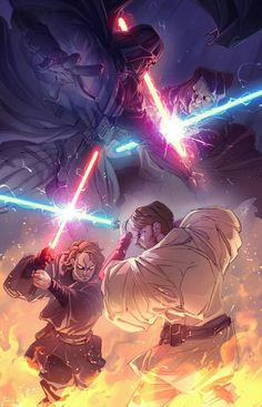 Darth Vader VS Obi-Wan Kenobi, which duel was better? Revenge of The Sith or A New Hope? 👉🏽 Tag a friend and let me know which is your… Star Wars Fan Art, Star Wars Jedi, Rey Star Wars, Anakin Vs Obi Wan, Anakin Vader, Anakin Skywalker, Anakin Dark Vador, Regalos Star Wars, Tableau Star Wars