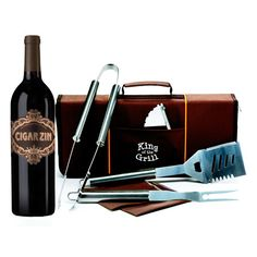 """Cigar Zin Wine and Grill Tools Gift Set - Guess this is what we'd call a """"manly"""" gift..."""