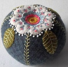 Handmade Wool Dusty Blue Blossom Pin Cushion by QuiltShena Felted Wool Crafts, Felt Crafts, Fabric Crafts, Sewing Crafts, Sewing Projects, Wool Applique Patterns, Felt Applique, Felt Pincushions, Wool Quilts