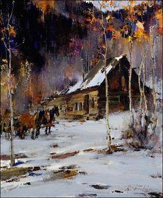 Nicolai Fechin, Twilight ... Caballos frente a la la cabaña, en al nieve.