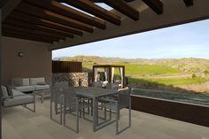 Vista 3D exterior con panorámica al Campo de Golf de la villa tipo de 2 plantas.  #3d #architecture3d #artlantis #Archicad #model3d #design3d #render #rendering #3dmodel #3ddesign #renderings #Photoshop