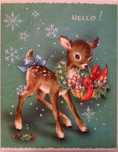 #1158 50s Sweet Deer Says Hello! Vintage Christmas Greeting Card by Layla