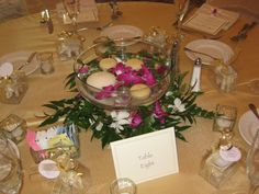 Pedestal bubble bowl with floating candles and orchids