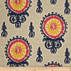 Designer Fabric In Coral Navy Mint And White Ikat