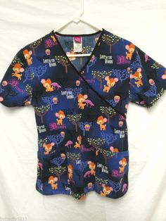 DISNEY SCRUB TOP SCRUBS BAMBI LOST IN THE WOODS SMALL MOCK WRAP TIE BACK OWLS