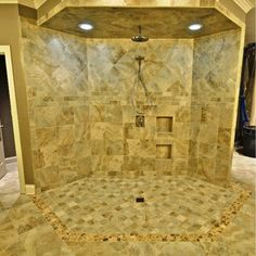 Unusual Shower Area with the Tile Wall, the Tile Floor and Tile Ceiling in the House
