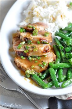Pork tenderloin is seared in a teriyaki marinate, then topped with a wasabi-gingered soy sauce. Super easy and delicious!
