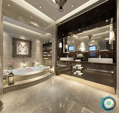 Your bathroom is the place where you can lock the door and relax, so make it a place of pure luxury. These stunning luxury bathrooms bring inspiration luxus, 50 Luxury Bathrooms And Tips You Can Copy From Them Dream Home Design, Modern House Design, Home Interior Design, Luxury Interior, Interior Decorating, Decorating Ideas, Dream Bathrooms, Beautiful Bathrooms, Luxury Bathrooms