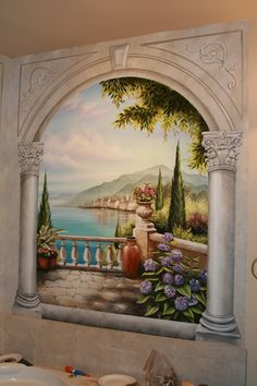 Bathroom mural over corner jetted tub. www.ramonabalaz.com