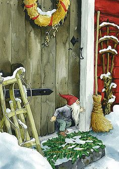 little gnome or elf at the door.  http://www.ivy-art.com/images/image/Inge-Look-Postkaarten-216.jpg