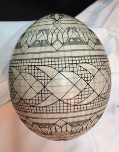 "Mark Malachowski outlines his sketch using a fine kistka and black wax. A note on pronunciation, despite what you may have heard on television, a supplier of pysanky tools or from an instructor in a local class, ""Pysanka"" is correctly pronounced ""Pih-sahn-kah"" with the plural ""Pih-sahn-kih"". All with short vowels. The term ""pysanky"" is not, never was, nor will it ever be correctly pronounced ""pie-SAN-kee or pizz-an-ki"""