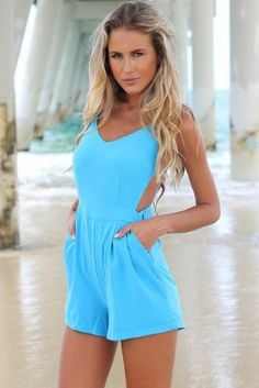 "Gorgeous Bikini Luxe ""Summer Fling"" High waisted romper playsuit.  This is a wonderful baby blue romper that is light and comfy and perfect for the beach or even around town. #romper #playsuit #jumper #highwaisted #babyblueromper #romperbabyblue"