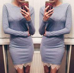 Scoop Lace Patchwork Long Sleeves Slim Short Dress