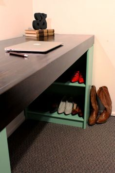 Using a bookcase facing in is a good idea - for all the messy stuff that goes along with desks.