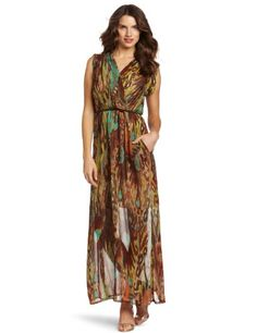 awesome Donna Morgan Women's Mock Wrap Maxi Dress With Sleeve Band
