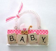 Baby Girl Baby Boy Scrabble Tile ornaments by ScrabbleTileOrnament Scrabble Letter Crafts, Scrabble Ornaments, Scrabble Art, Scrabble Tiles, Diy Crafts To Sell, Easy Crafts, Diy Baby Gifts, Crafty Craft, Holiday Crafts