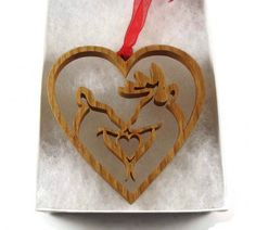 Deer Couple In Heart Shape Ornament Handmade By KevsKrafts
