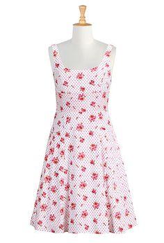 I <3 this Empire waist floral cotton dress from eShakti