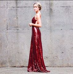 Charismatic Spark Wine Red Sequin Maxi Dress