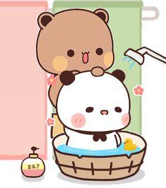 Cute Bear Drawings, Cute Little Drawings, Kawaii Drawings, Cute Love Pictures, Cute Love Gif, Cute Images, Cute Anime Cat, Cute Cat Gif, Chibi Cat
