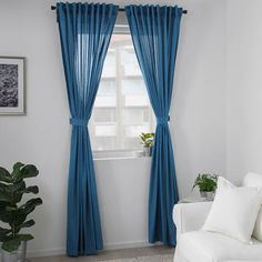 AMILDE blue, Curtains with tie-backs, 1 pair, cm. A perfect solution when you want privacy or want to block annoying glares on TV and computer screens. Custom Drapes, Drapes And Blinds, Window Room, Living Room Decor Curtains, Sheer Curtains, Bedroom Drapes, Curtains, Blue Curtains Living Room, Ikea