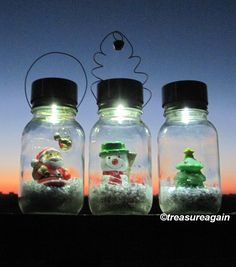 Solar Mason Jar Snow Globe Light Christmas Lights Holiday Outdoor Decor, Waterless Snow Globe Mason Jar Light, *NOT for DIY boards*, Created & Sold by treasureagain  http://etsy.me/16hb8ik