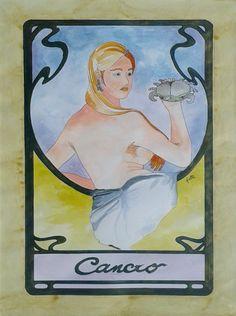 Dipinto eseguito a mano acrilico acquerellato su carta soggetto segno zodiacale CANCRO formato 30 cm x 42 cm. Tecnica: Penna, Acrilico e Acquerello.