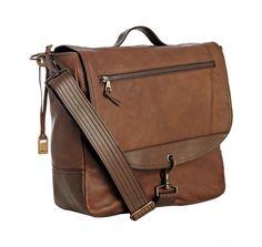 light brown leather military bag