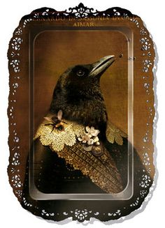 "Bernardo Tray from the collection Au grand Theatre by Ibride. This ""art"" tray features Bernardo The Crow, Quoth The Raven, Raven Art, Crow Art, Raven Queen, Broken Wings, Jackdaw, Crows Ravens, Cool Ideas"