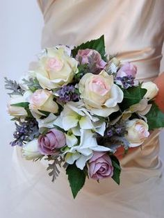 #564 - Medium - Pastel Rose, Hydrangea, Lavender & Silver Dusty Miller- Posy