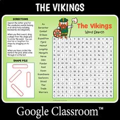 Distance Learning Vikings Word Search by Puzzles to Print French Worksheets, Challenging Puzzles, Number Puzzles, Ancient Vikings, History For Kids, School Children, Fun Activities For Kids, Google Classroom, Your Teacher