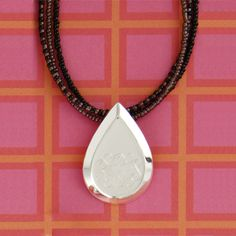 Engraved Teardrop Pendant - Doodle Bug Designs - Beautiful Monogrammed Gift!
