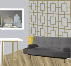 Office Inspiration. Metallic gold geo print on wall behind grey sofa sleeper. yellow nightstand. Paint folding table white and gold. Fill cubby with pretty objects d'art.