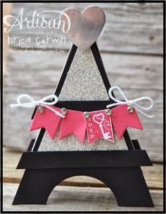 The Eiffel Tower Box tutorial available at Pink Buckaroo Designs. It holds candy or a sweet treat! Saint Valentine, Be My Valentine, Valentine Gifts, Family Crafts, Crafts For Kids, Cool Valentine Boxes, Box Patterns, Card Tricks, Craft Night