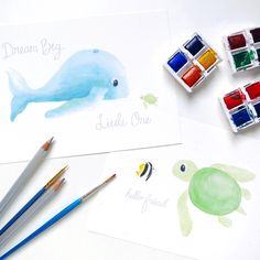 Ocean friends watercolor nursery art