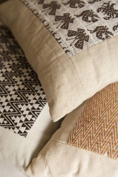 Pillows with hand woven and brocaded traditional Huave textile