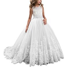 Princess White Long Girls Pageant Dresses Kids Prom Puffy...