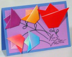 Colorful Mothers Day card with origami tulips.