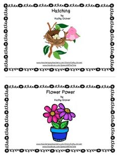 """This bundle includes two predictable interactive patterned books for young learners.""""Hatching""""This book allows early language learners the opportunity to:-- produce multiple repetitions of plural markers-- practice phonological awareness skill of syllabification -- recognize and learn familiar, predictable textwith a twist""""Flower Power""""This book gives early language learners the opportunity to:-- produce multiple repetitions of plural markers-- practice phonological awareness skill of syllabific..."""