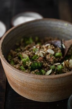 Broccoli Salad with Couscous and Tahini Dressing - Fitness-Salate (gesund, vegan) - Vegan Vegetarian, Vegetarian Recipes, Cooking Recipes, Healthy Recipes, Tahini Dressing, Vegan Broccoli Salad, Clean Eating, Healthy Eating, Couscous