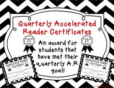 Included in this pack are different variations of the certificate to suit your needs. The pack includes both boy (his) and girl (her) certificates. Each certificate includes the students: goal, points accumulated, percentage correct, number of tests taken, and average book level.This is a great way to keep track and show reading growth through the A.R.
