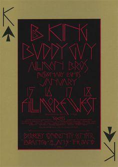 BG # 212-1 B.B. King Fillmore Poster BG212 B.B. King Buddy Guy Allman Brothers Laura Nyro The Band  1/15-18, 24, 31/1970 Artist: David Singer 1st printing