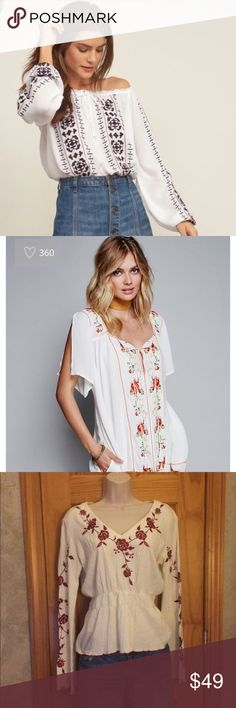 Gorgeous Floral Free Gypsy Style White Tunic 💜✌️✌ Get the look, for less!!!! First pics for fashion inspiration and to compare the merchandise, last two pics gorgeous white peasant blouse , gauze material, red floral detailing!!!♥️♥️♥️♥️♥️♥️♥️♥️♥️♥️♥️ Tops Tunics