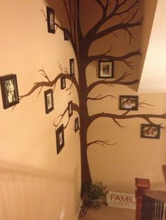 The family tree wall my daughter helped me paint!