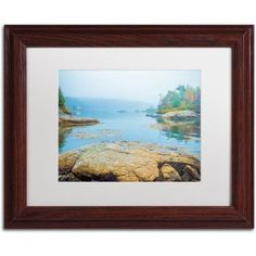 Trademark Fine Art Foggy Lake Canvas Art by Preston White Mat, Wood Frame, Size: 16 x 20