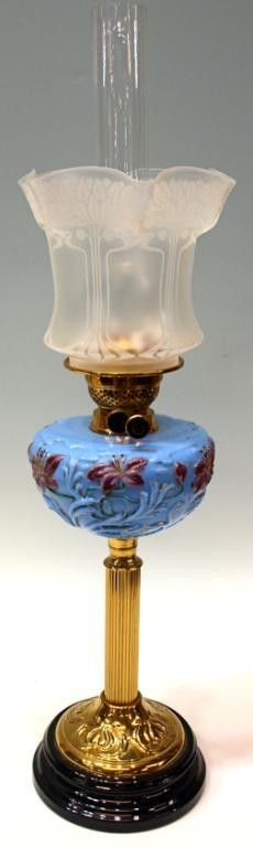 Lot:404: VICTORIAN ETCHED GLASS & MOULDED BANQUET LAMP, Lot Number:404, Starting Bid:$100, Auctioneer:Austin Auction Gallery, Auction:404: VICTORIAN ETCHED GLASS & MOULDED BANQUET LAMP, Date:07:00 AM PT - May 22nd, 2011