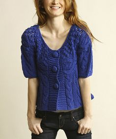 Take a look at this Cobalt Blue Cable-Knit Short-Sleeve Button-Up Sweater by Young Threads on #zulily today!