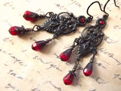 Vintage inspired chandelier earrings with red glass by lilruby, $22.00