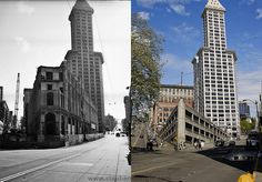 A great then and now shot. The first photo comes from the Seattle Municipal Archives. Taken on June 21st 1961 the historic Seattle Hotel ( en.wikipedia.org/wiki/Seattle_Hotel ) was in the process of being destroyed. Today, a parking garage stands in its place.